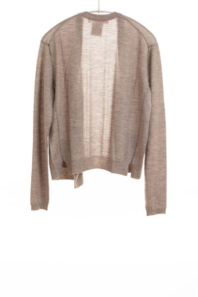 Paychi Guh | Asymmetrical Cardigan, Walnut, 100% Worsted Cashmere