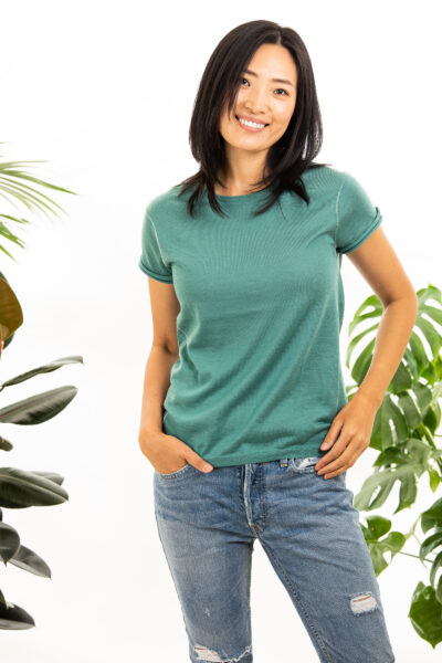 Paychi Guh | Baby Tee, Sea Green, 100% Worsted Mongolian Cashmere