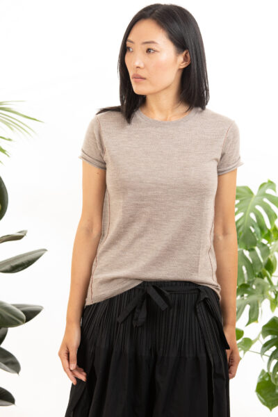 Paychi Guh | Baby Tee, Walnut, 100% Worsted Mongolian Cashmere