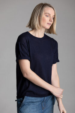 Paychi Guh   Weekend Tee, Navy, 100% Worsted Mongolian Cashmere