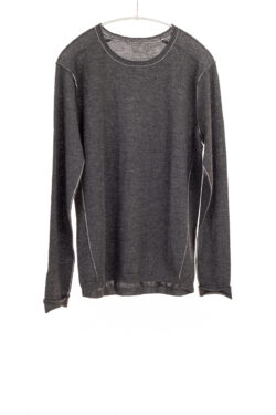 Paychi Guh | L/S Baby Tee, Charcoal, 100% Worsted Cashmere