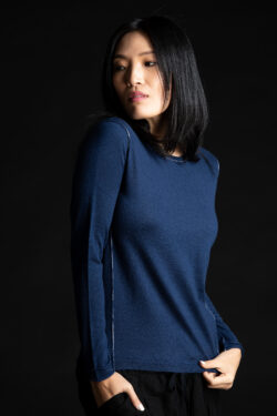 Paychi Guh | L/S Baby Tee, Cosmos Blue, 100% Worsted Cashmere