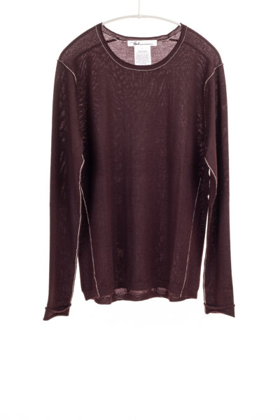 Paychi Guh | L/S Baby Tee, Currant, 100% Fine Worsted Cashmere