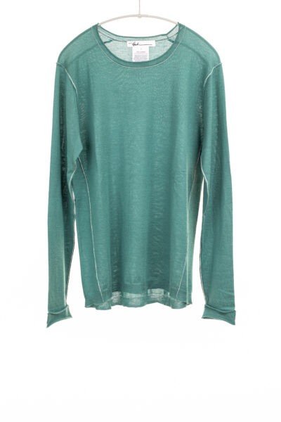 Paychi Guh | L/S Baby Tee, Green Lagoon, 100% Worsted Cashmere