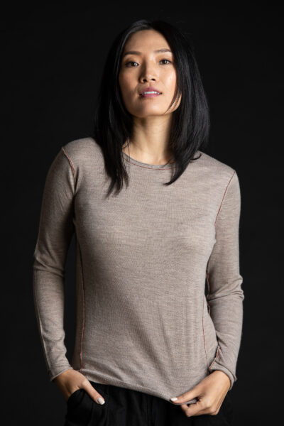 Paychi Guh   L/S Baby Tee, Walnut, 100% Worsted Cashmere