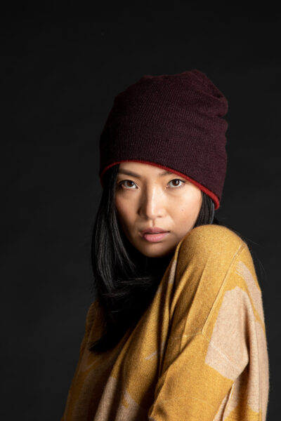 Paychi Guh | Slouchy Beanie, Currant, 100% Cashmere