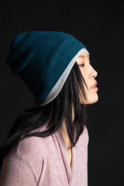 Paychi Guh | Slouchy Beanie, Dark Teal, 100% Cashmere