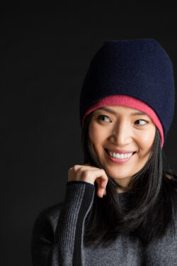 Paychi Guh | Slouchy Beanie, Navy, 100% Cashmere