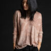 Paychi Guh | Printed Textured Crew, Dusty Rose, 100% Mongolian Cashmere