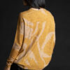 Paychi Guh   Printed Textured Crew, Gold, 100% Mongolian Cashmere