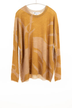 Paychi Guh | Printed Textured Crew, Gold, 100% Mongolian Cashmere