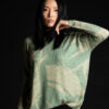 Paychi Guh   Printed Textured Crew, Sage, 100% Mongolian Cashmere