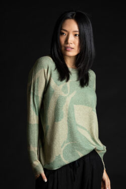 Paychi Guh | Printed Textured Crew, Sage, 100% Mongolian Cashmere