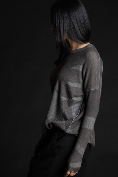 Paychi Guh   Printed Textured Crew, Shadow Grey, 100% Mongolian Cashmere