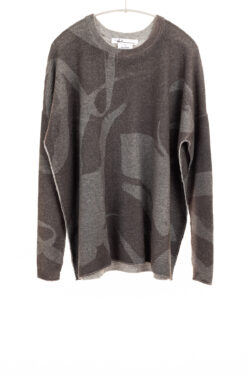 Paychi Guh | Printed Textured Crew, Shadow Grey, 100% Mongolian Cashmere