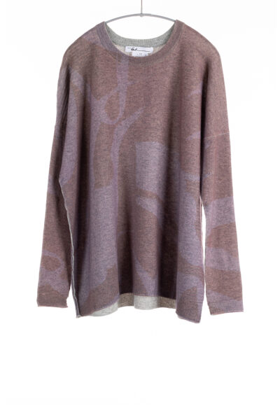 Paychi Guh   Printed Textured Crew, Vintage Mauve, 100% Mongolian Cashmere