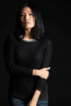 Paychi Guh | Printed Bateau, Black, 100% Worsted Cashmere