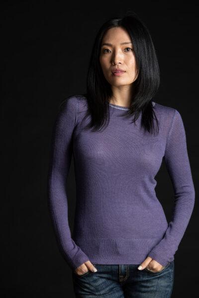 Paychi Guh | Printed Bateau, Purple, 100% Worsted Cashmere