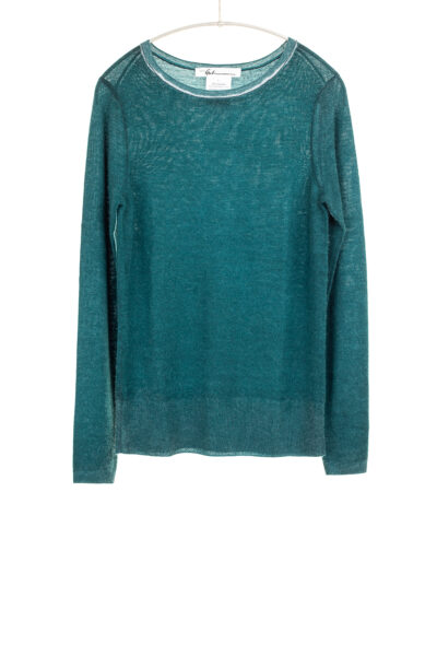 Paychi Guh   Printed Bateau, Teal, 100% Worsted Cashmere