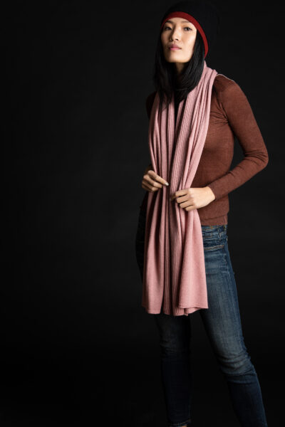 Paychi Guh   Textured Scarf, Ash Rose, 100% Cashmere