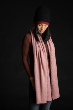 Paychi Guh | Textured Scarf, Ash Rose, 100% Cashmere