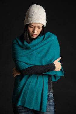Paychi Guh | Textured Scarf, Bright Teal, 100% Cashmere