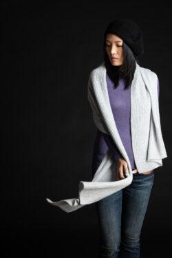 Paychi Guh | Textured Scarf, Lt H Grey, 100% Cashmere