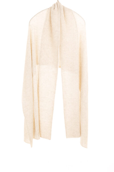Paychi Guh   Textured Scarf, Oatmeal, 100% Cashmere