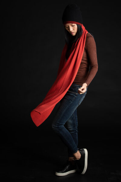 Paychi Guh | Textured Scarf, Persimmon, 100% Cashmere