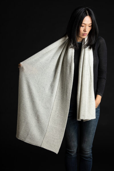 Paychi Guh | Textured Scarf, Snow Speckle, 100% Cashmere