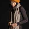 Paychi Guh   Textured Scarf, Toast, 100% Cashmere