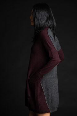 Paychi Guh | Dress, Currant/Charcoal, 100% Mongolian Cashmere