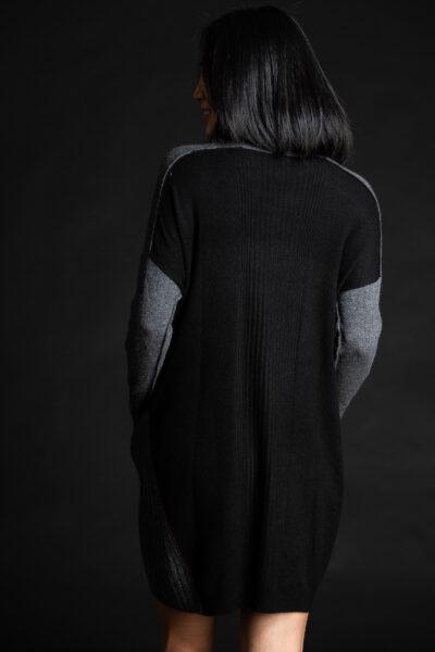 Paychi Guh | Dress, Grey Speckle/Black, 100% Mongolian Cashmere