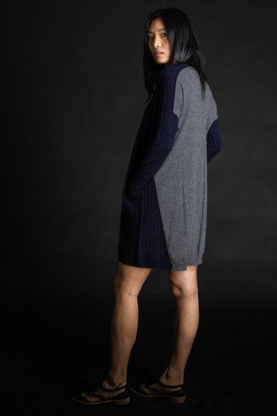 Paychi Guh | Dress, Navy/Grey Speckle, 100% Mongolian Cashmere