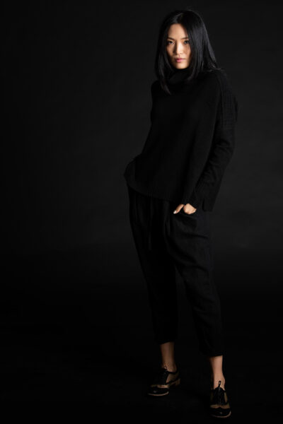 Paychi Guh | Mock Pullover, Black, 100% Mongolian Cashmere