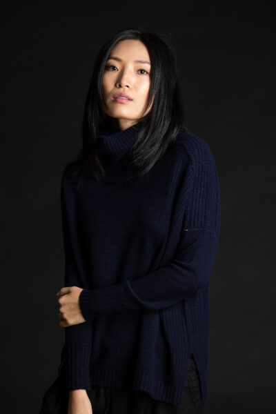 Paychi Guh | Mock Pullover, Navy, 100% Mongolian Cashmere