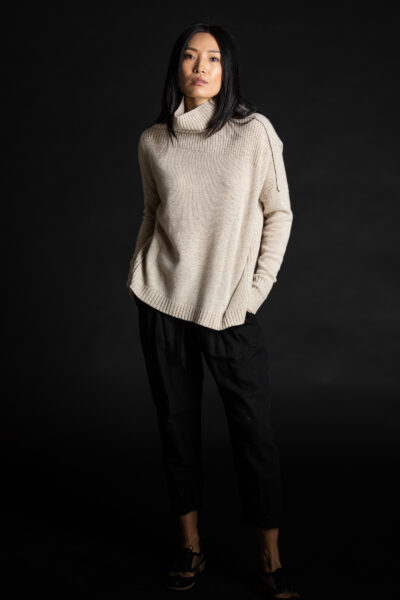 Paychi Guh   Mock Pullover, Oatmeal, 100% Mongolian Cashmere