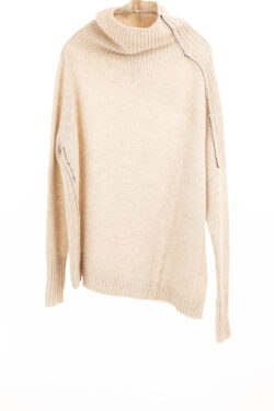 Paychi Guh | Mock Pullover, Oatmeal, 100% Mongolian Cashmere