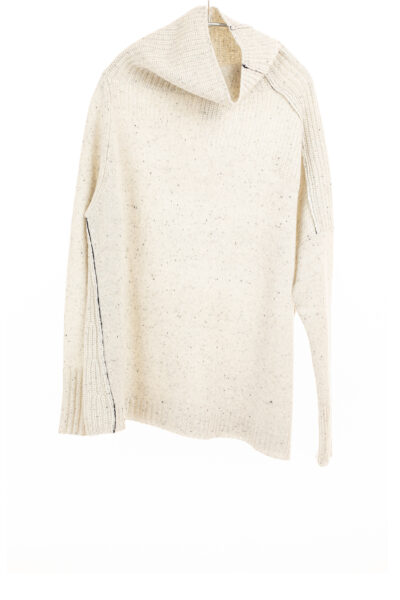 Paychi Guh   Mock Pullover, Snow Speckle, 100% Mongolian Cashmere