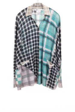 Paychi Guh | Printed Plaid Cardigan, Teal/Lilac, 100% Worsted Mongolian Cashmere