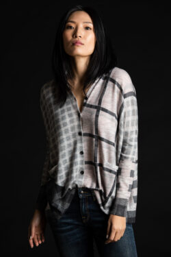Paychi Guh | Printed Plaid Cardigan, Grey Multi, 100% Worsted Mongolian Cashmere