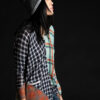 Paychi Guh | Printed Plaid Cardigan, Pistachio/Brandy, 100% Worsted Mongolian Cashmere