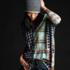 Paychi Guh   Printed Plaid Cardigan, Pistachio/Brandy, 100% Worsted Mongolian Cashmere