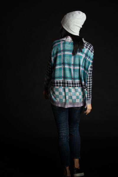 Paychi Guh   Printed Plaid Cardigan, Teal/Lilac, 100% Worsted Mongolian Cashmere