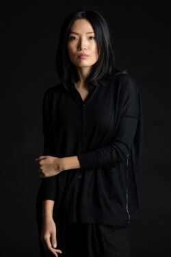 Paychi Guh | Collared Cardigan, Black, 100% Worsted Mongolian Cashmere