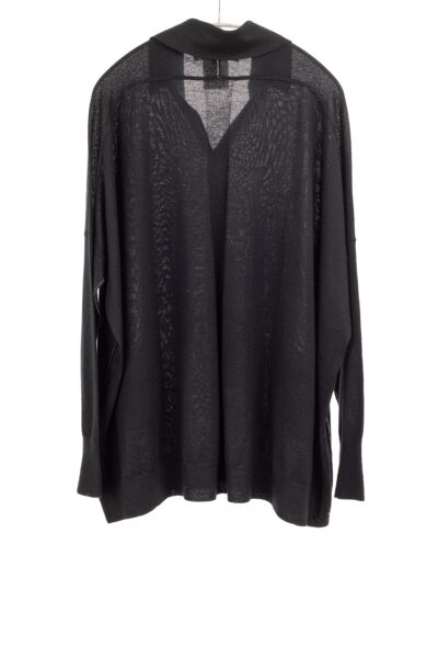 Paychi Guh   Collared Cardigan, Black, 100% Worsted Mongolian Cashmere