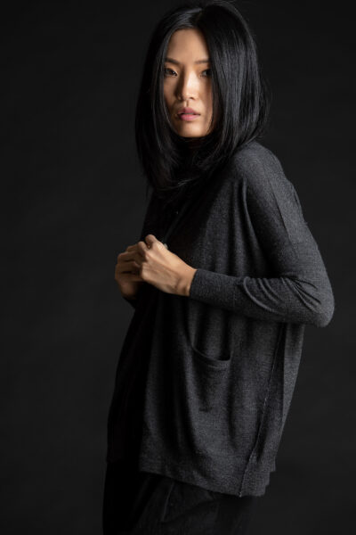 Paychi Guh | Collared Cardigan, Charcoal, 100% Worsted Mongolian Cashmere