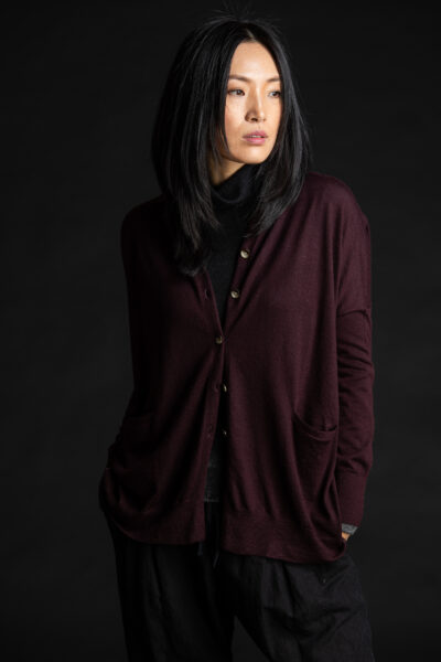 Paychi Guh | Collared Cardigan, Currant, 100% Worsted Mongolian Cashmere