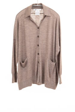 Paychi Guh   Collared Cardigan, Driftwood, 100% Worsted Mongolian Cashmere