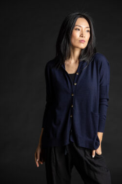 Paychi Guh | Collared Cardigan, Navy, 100% Worsted Mongolian Cashmere